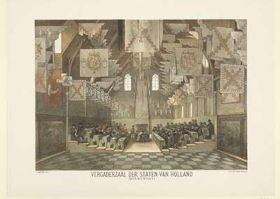 De grote zaal op het Binnenhof, Den Haag, tijdens de grote vergadering der Staten Generaal in 1651; Vergaderzaal der Staten van Holland (Binnenhof); Serie van 24 vaderlandsche historieplaten, voor School en Huis