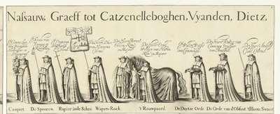 Begrafenisoptocht van Willem Frederik, graaf van Nassau-Dietz (blad 8), 1665; Rouw-Staetelijcke Lijk-pracht in de Uyt-Vaert en Begraefenisse van het ont-zielde Lichaem van (...) Wilhelm Frederich (...) Overleden binnen...