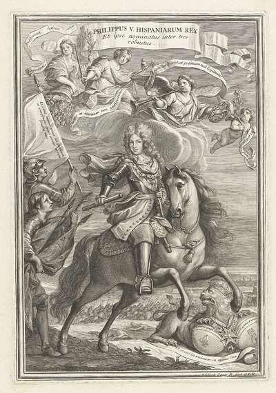 Ruiterportret van Filips V van Spanje; Philippus V Hispaniarum Rex