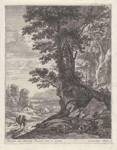 Landschap met een groep bomen en wandelaars; Landschappen met boompartijen