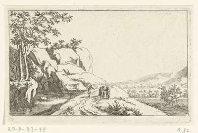 Vier mannen aan de oever van een rivier; Zes landschappen, tweede serie