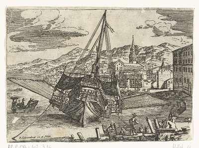 Galei voor anker aan de kade van de haven van Messina; Gezichten van de haven van Messina