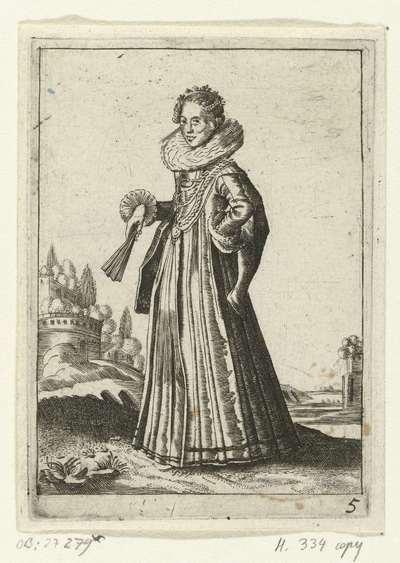 Elegante dame met brede plooikraag; Klederdracht van Nederlandse edelvrouwen