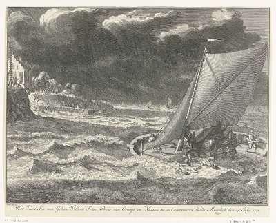 Verdrinkingsdood van prins Johan Willem Friso, 1711; Het verdrenken van Johan Willem Friso, Prins van Oranje en Nassau &c. in t'overvaaren vande Moerdyk den 14e July, 1711