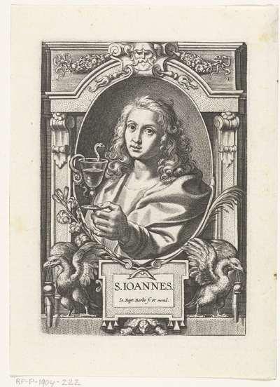 Evangelist Johannes met miskelk en adelaren in omlijsting met architectuur ornamenten; S. Ioannes; SS. Apostolorum et Evangelistorum Icones