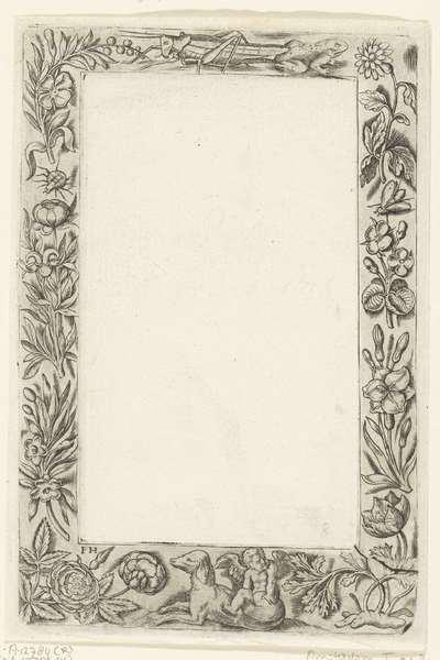 Omlijsting met onderaan een engeltje; Omlijstingen met bloemen, vruchten, vogels, insekten en putti; Zes bladen, waarop acht vierkante randlijsten, beladen met kindertjes, dieren, bloemen en vruchten, alle gemerkt: P.H. N(...