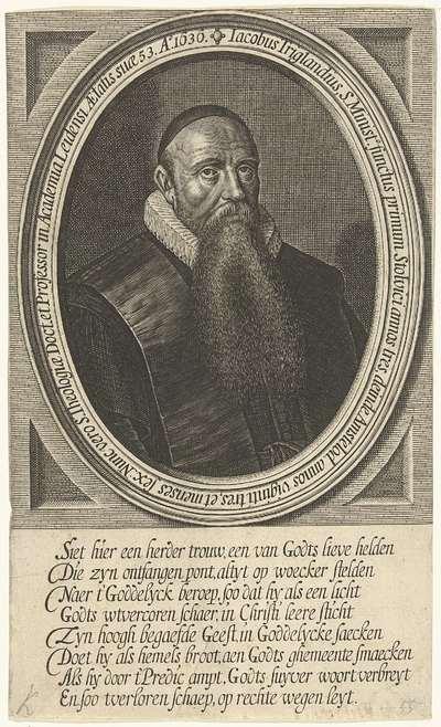 Portret van Jacobus Trigland op 53-jarige leeftijd