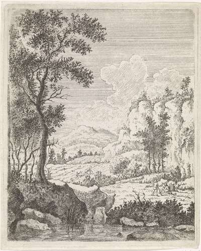 Berglandschap met twee rustende boeren bij een beek; Landschappen