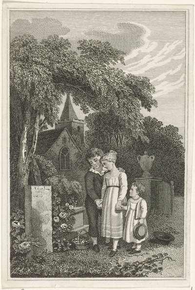 Drie kinderen bij het graf van hun moeder