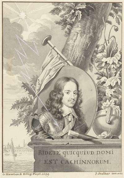 Portret van Willem II, prins van Oranje-Nassau, liggend op een steen