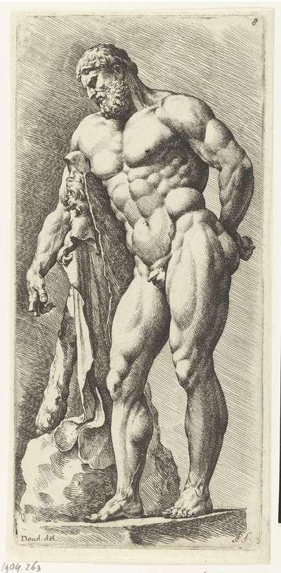 Staande Hercules een hand met appel op zijn rug; Signorum Veterum Icones I