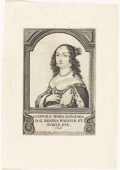 Portret van Louise Marie, koningin van Polen, uit 1646; Ludovica Maria Gonzaga D.G. Regina Poloniae et Sveciae etc. 1646