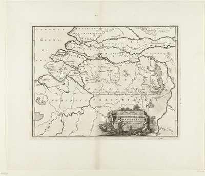 Historische kaart van Nederland met de gebieden van de Bataven en Friezen; Pars I Frisiae Haereditariae cis Mosam Quae Wasda, nunc Zelandia