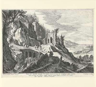 Italiaans landschap met gezicht op een ruïne en de kust; Italiaanse landschappen