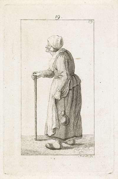 Oude vrouw met stok