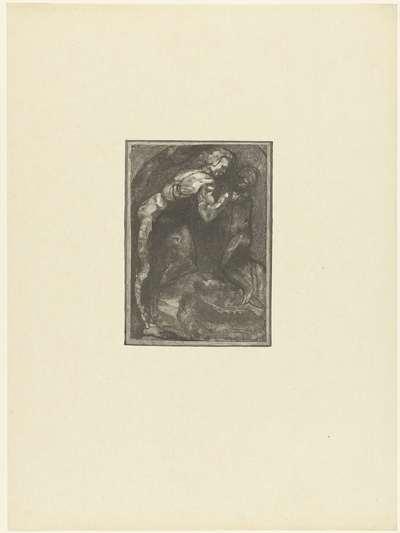 Michelangelo beeldhouwt een slaaf; Michel Ange modelant l'Esclave; L'Epreuve