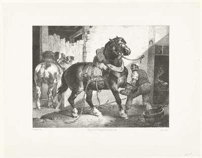 Franse hoefsmid; Le Maréchal français; Verschillende studies van paarden; Etudes de chevaux