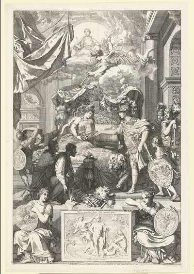 Allegorie op het herstel van de ware godsdienst in Engeland met de komst van de prins van Oranje, 1688; Britannia Opressa per Arausionensium Principem Liberata et Restaurata