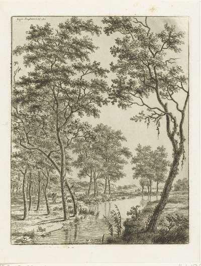 Rivierlandschap met bomen, in de verte twee ruiters