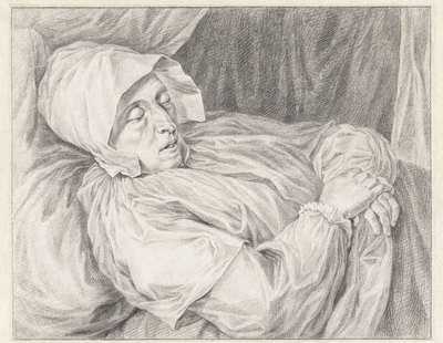 Vrouw op haar doodsbed