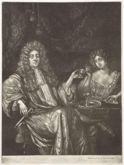 Portret van Adriaen van Beverland met een dame van lichte zeden