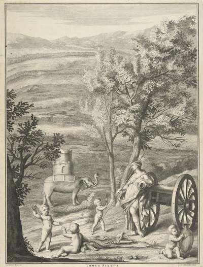 Allegorische voorstelling met een olifant; Tomus Sixtus