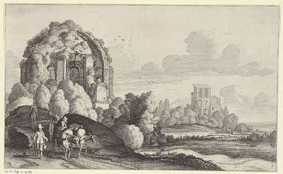 Reizigers bij de Tempel van Minerva Medica bij Rome; Landschappen naar Pieter de Molijn
