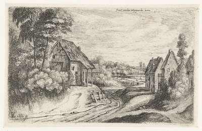 Landschap met twee boerderijen langs een weg