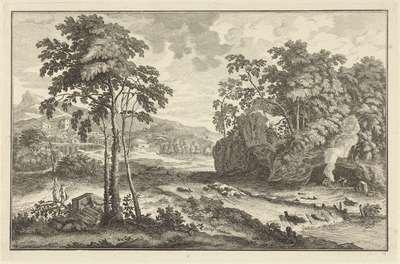 Arcadisch landschap met figuren op de oever van een rivier; Italiaanse en Duitse landschappen