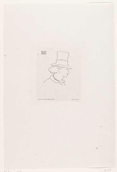 Portret van Charles Baudelaire met hoge hoed