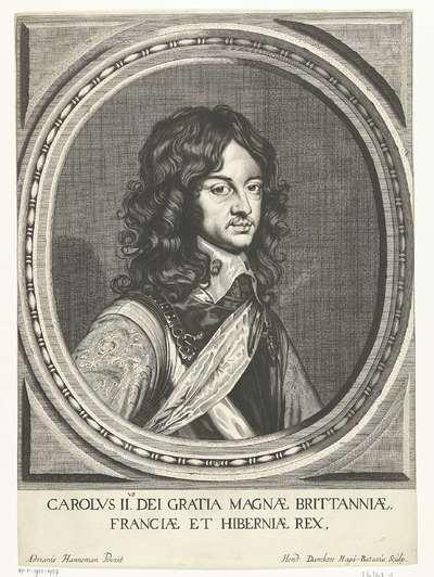 Portret van Karel II, koning van Engeland in ovaal; Carolvs IIvs, dei gratia magnae Brittanniae, Fanciae et Hiberniae rex