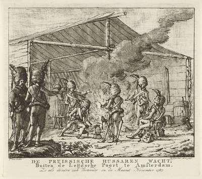 De Pruisische huzarenwacht bij de Leidse Poort te Amsterdam, 1787; De Pruissische hussaren wacht, Buiten de Leijdsche Poort te Amsterdam (...)