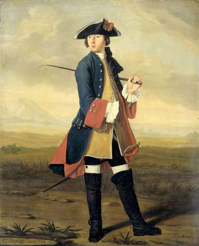 Image from object titled Portrait of Ludolf Backhuysen II, Painter, in the Uniform of the Dragoons