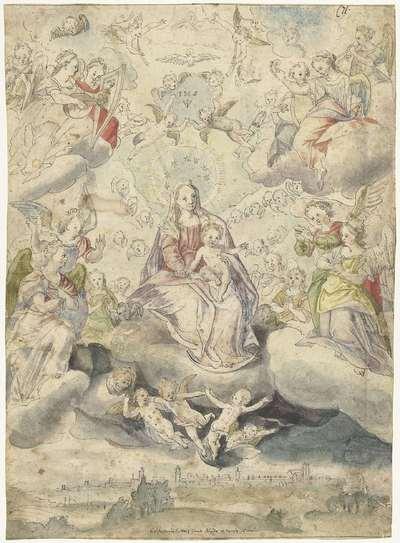 Maria en kind op de wolken te midden van engelen en cherubijnen