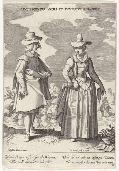 Paar, gekleed volgens de Engelse mode, ca. 1610; Adolescentis Angli et Ivvenclvae Habitvs; Kostuums uit verschillende landen; Variarum Gentium Ornatus