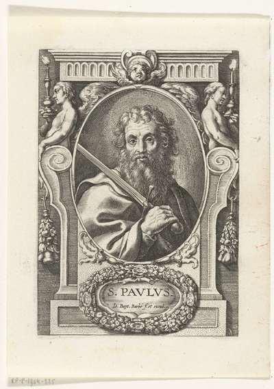 Apostel Paulus met zwaard in omlijsting met architectuur ornamenten; S. Pavlvs; SS. Apostolorum et Evangelistorum Icones