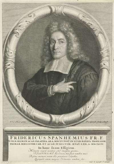 Portret van Frederick Spanheim de jongere op 62-jarige leeftijd