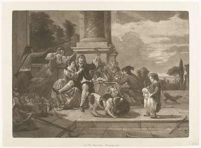 Vrolijk gezelschap op een terras; De pissende jongen