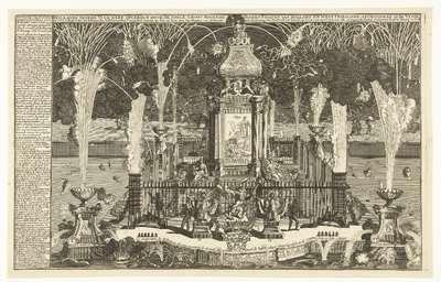 Vuurwerk ter ere van de vrede van Utrecht, 1713; Hollands Vrede Vuurwerk opgeregt door de Edele Groot Mogende Heeren Staaten van Holland en West Friesland, afgestooken in de vyver tot 's Gravenhage (...)