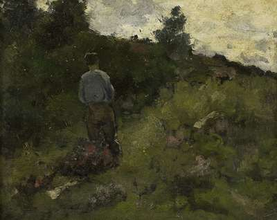 Image from object titled A Farmer walking along the Fringe of a Wood