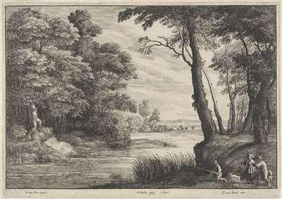Waterrijk landschap met reiger en jagers; Landschappen naar Jacques d'Arthois