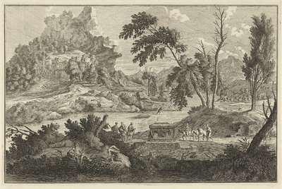Arcadisch rivierlandschap met twee ezels; Italiaanse en Duitse landschappen