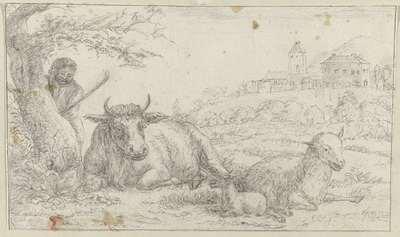 Rustend vee in een landschap met herder