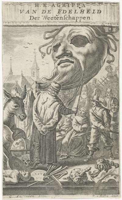 Spotprent op de kunsten; Titelpagina voor: J. Oudaen, Agrippa, van de ijdelheid der wetenschappen, 1661