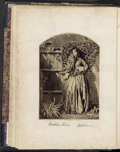 Fotoreproductie van een schilderij van Philip Hermogenes Calderon; Broken Vows. Calderon