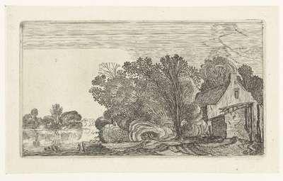 Boerderij tussen bomen aan een rivier; Landschappen naar Esaias van de Velde