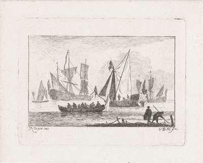 Zeilschepen en een roeiboot