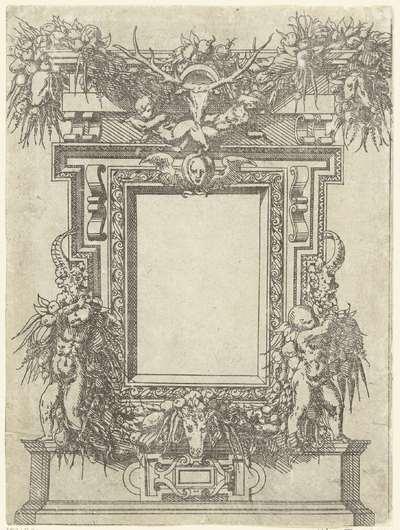 Rechthoekige cartouche; Plafonds en cartouches in een omlijsting van rolwerk met grotesken, guirlandes en mascarons; Kleine cartouche naar voorbeeld te Fontainebleau