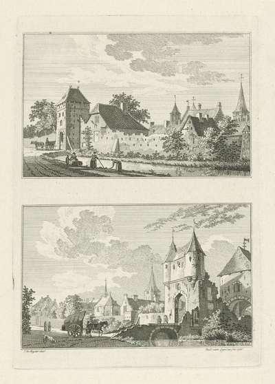 Veepoort en Loopoort te Uedem, 1744; Dorps- en stadsgezichten te Kleef