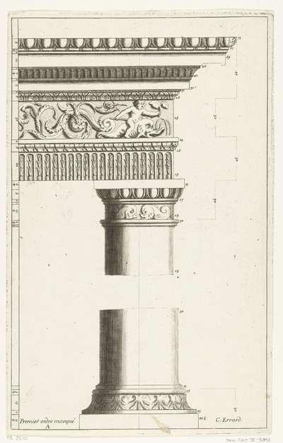 Dorische orde, deel van zuil met voetstuk en hoofdgestel; Premier ordre marqué A; Parallèle de l'architecture antique et de la modern (...)